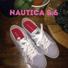 Nautica BRAND NEW Norwich Lace Up Nautica Norwich Lace Up Ked type Nwot         these are LEGIT BRABD NEW. I purchased them with the intentions of wearing socks and there are a half size too small, NEVER WORN.  Straight from Nautica Store Blue & white pinstripe & lace up tops Orig. Nautica logo on both outter side Size 6 I'm 6.5 I was hoping I could fit :/ Bottoms you can tell have only been used once when I tried to wear.  Legit perfect condition inside thru out! Nautica Shoes Sneakers