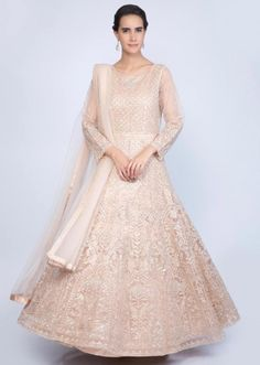 ba0d64a7e17 Heavy embroidered english peach anarkali with matching net dupatta only on  Kalki