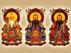San Qing: The four main Gods of Chinese Mythology. Yuan-Shi-Tian-Zong, Jade Emperor, Ling-Bao-Tian-Song, and Lao-Jun.