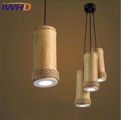 Single Head LED Pendant Lamp For Bedroom Creative Bamboo Pendant Light Fixture Simple Helmp Rope Hanging Lamps Led Lamparas Hanging Light Fixtures, Pendant Light Fixtures, Hanging Lights, Pendant Lamp, Hanging Lamps, Bamboo Pendant Light, Bamboo Light, Bamboo Lamps, Bamboo Roof