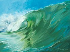 """Items similar to Original Oil Painting - Curling Wave series 3, 12""""x16"""" (surf art, sunrise) on Etsy"""