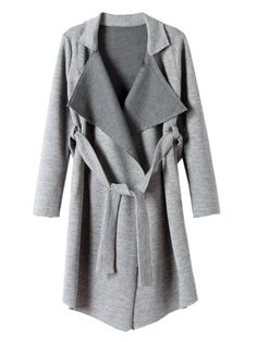 Love Love LOVE the Long Lines of this Trench Coat! Chic and Simple Gray Longline Lapel Knit Trench Coat   Choies #Chic #Simple #Elegant #Longline #Grey #Trench #Coat #Fall #Fashion