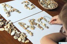 kreatywne zabawy dla dzieci z kamieniami alfabet do druku Preschool Crafts, Montessori, Place Card Holders, Halloween, Fun, Kids, Animals, Speech Language Therapy, Young Children