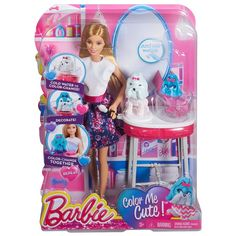 Barbie doll and her puppy are ready for an amazing, colorful day at the salon! Change the color on Barbie doll's fashion and her puppy just by using water! New Barbie Dolls, Mattel Dolls, Mattel Shop, Dog Salon, Baby Clothes Online, Puppy Play, Christmas Toys, Christmas Treats, Cute Dolls