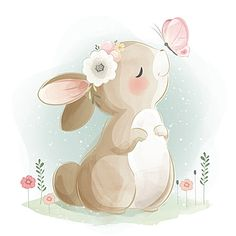 Baby Animal Drawings, Cute Drawings, Adobe Illustrator, Cartoon Butterfly, Bunny Drawing, Butterfly Background, Cute Baby Bunnies, Boy Character, Animal Illustrations