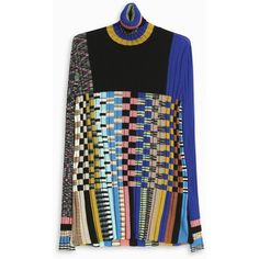 MISSONI Multi Check Turtle Neck ($1,118) ❤ liked on Polyvore featuring tops, checkered shirt, turtle neck top, long sleeve embellished top, colorful shirts and color block tops