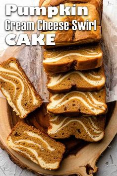 Pumpkin Cream Cheese Swirl Cake combines layers of pumpkin spice cake with rich, custardy layers of sweetened cream cheese. A beautiful pattern is created in the cake by adding alternating layers of batter. A perfect autumn treat for dessert or teatime! #pumpkincake #pumpkinbread #pumpkin #cannedpumpkin #pumpkincreamcheese Pumpkin Spice Cake, Cheese Pumpkin, Pumpkin Cream Cheeses, Canned Pumpkin, Pumpkin Bread, Cupcake Recipes, Cupcake Cakes, Dessert Recipes, Cupcakes