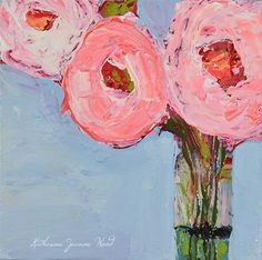 """Daily Paintworks - """"Pink roses in vase painting by Katie Jeanne Wood"""" - Original Fine Art for Sale - © Katie Jeanne Wood"""