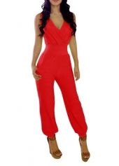 PLUS SIZE Belt Long Dolman Sleeve Jumpsuit red ...