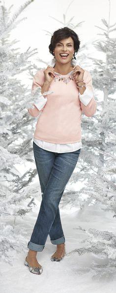 Chico's Embellished Neckline Belle Pullover Sweater
