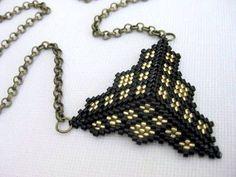 Beadwork Peyote Triangle Pendant in Black and by MadeByKatarina