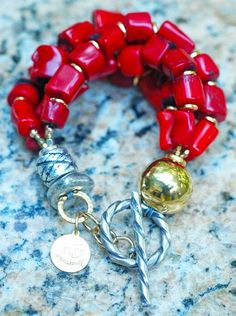 Designer Chunky Red Coral Nugget, Gold and Silver Statement Bracelet Cheap Fashion Jewelry, Fashion Jewellery Online, Coral Jewelry, Silver Jewelry, 925 Silver, India Jewelry, Silver Earrings, Gold Necklace, Coral Bracelet
