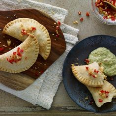 The origin of empanadas, a popular street food in Latin American, can be traced to Spain and Portugal where they were often filled with seafood. This empanada is filled with shrimp and creamy queso fresco offset by a tangy Mexican tomatillo salsa.