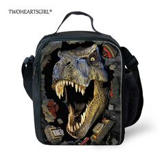 Trendy Printing Animal Dinosaur Lunch Bag Men Food Thermal Bag Small Zoo Lunchbox for Boys Children Lancheira Picnic Bag Small Lunch Bags, Kids Lunch Bags, Cool Lunch Boxes, Kids Lunch For School, Kids Bags, Small Bags, School Bags, Girls School, Men's Bags