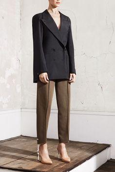 Maison Martin Margiela and H  Flat jacket, £59.99; pattern-cut trousers, £59.99; plexi wedge pump, £149.99
