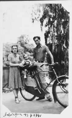 A young Jewish couple takes their baby for a bicycle ride in Antwerp, Belgium.  Pictured are Alex and Leah Ciechanow with their son Nathan (Nounou). The family was subsequently deported to Auschwitz, where Leah and Nathan were killed. Alex was subsequently killed by Poles when he returned to his hometown to reclaim his parents' home.