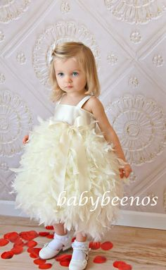 Flower Girl Dress  Feather Dress  Swan  Solid Bodice by babybeenos, $162.00