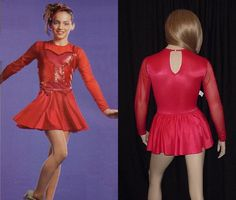 Lady In Red Dance Costume Leotard and Swing Tap Skirt Child Large-Adult Small