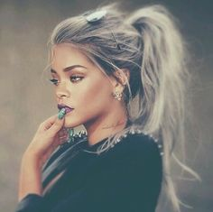 black, celebrity, classy, earrings, famous, fashion, goals, grey hair, hair, hairstyle, instagram, jewellery, makeup, nails, outfit, rihanna, style, tattoo, tattoos, badgirlriri