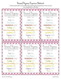 PP Experience Bookmark. All the personal progress value experiences you can do in one day...