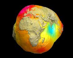 mapa de la gravedad sobre la superficie terrestre
