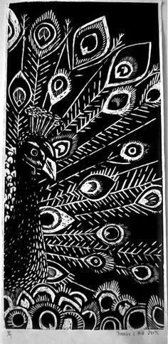 my peacock wood cut print...