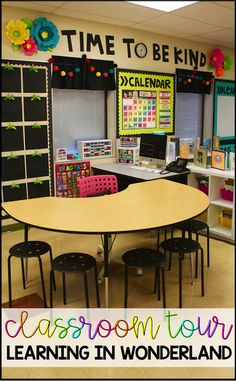 Learning in Wonderland Classroom Tour Lots of great ideas for the primary teacher! Classroom Clock, First Grade Classroom, New Classroom, Classroom Setup, Classroom Design, Classroom Organization, Setting Up A Classroom, Classroom Behavior, Birthday Display In Classroom