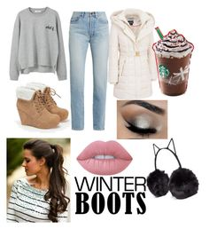 """""""Winter Boots"""" by fashionable-fan-of-anything ❤ liked on Polyvore featuring JustFab, Yves Saint Laurent, Kensie, MANGO, Lime Crime and BCBGeneration"""
