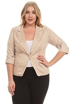 Normcoer Fashion Clothes Womens 3/4 Sleeve Peaked jacket PLUS SIZE ** Want to know more, click on the image.