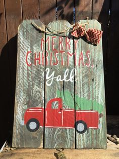 For Sale: Red truck Merry Christmas y'all wooden sign - Item posted in the Christmas category