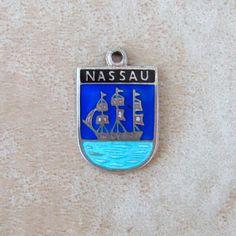 Nassau Bahamas Blue Enamel Caribbean Island Travel by Charmcrazey