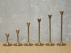 I Like Mike's Mid Century Modern - BRASS DESCENDING CANDLE HOLDERS SET OF 6