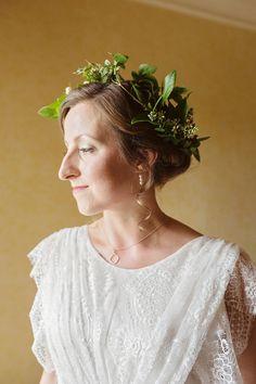 Bride wears a honeysuckle flower crown   Love My Dress