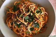 carrot pasta with lemony tahini sauce