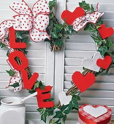 Leisure Arts - Valentine Wreath Heart and L-O-V-E Letters Plastic Canvas Pattern ePattern, $2.99 (http://www.leisurearts.com/products/valentine-wreath-heart-and-l-o-v-e-letters-plastic-canvas-pattern-digital-download.html)