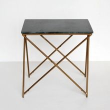 Beistelltisch Marmor table l in beige marble and gold from bloomingville
