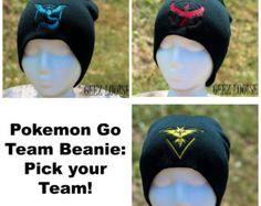 Pokemon Go Beanie Mystic Valor Instinct Team adult Toboggan Hat Skull Cap Winter Warm Head Accessory Black Blue Red Yellow Embroidered
