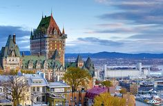The skyline of Vieux Québec (Old Québec), a historic area of Québec City that was declared a UNESCO World Heritage site.