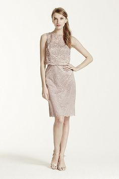 MORE COLORS Short Metallic Lace Dress with Removable Popover Style F15920M In Store & Online $169.00