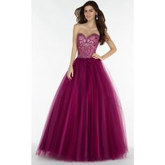 Alyce 6728 Prom Ball Gown Long Strapless Sleeveless ($530) ❤ liked on Polyvore featuring dresses, gowns, burgundy, formal dresses, purple prom dresses, prom dresses, purple gown, burgundy prom dresses and long evening dresses