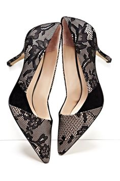 Black Lace Pumps <3 L.O.V.E. {Great look with Leather}