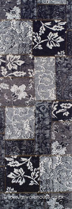 Patchy Grey Runner, a grey, brown, black & white patchwork style machine-woven hallrunner (polyester, acrylic & cotton mix) http://www.therugswarehouse.co.uk/patchwork-rugs/patchy-grey-rug.html #hallrunners #interiors #rugs