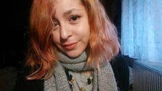 #dyedhair #orange #pink #hair #septum #piercing #shorthair #sushi #tshirt