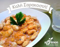 Pečené řecké fazole s rajčatovou omáčkou | Originální řecký obchod Shrimp, Meat, Recipes, Food, Lasagna, Essen, Meals, Ripped Recipes, Eten