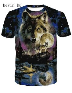 outlet store d7b12 93596 Devin Wolf 3D Cool Tees T shirt Fashion M-4XL Wolf T Shirt, Wolf