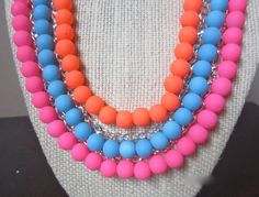 Women's Jewelry - Women's Fashion - Statement Necklace - Bib Necklace - Neon Jewelry - Colorful Necklaces - Neon Curb Chain Bib Necklace by chicxpressions on Etsy, $16.99