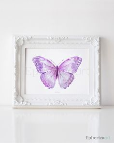 Lavender Purple Butterfly art print, Butterfly wall art, Baby purple decor, PRINTABLE wall art print, Butterfly decor, Purple home decor art by EphericaArt on Etsy https://www.etsy.com/listing/222555869/lavender-purple-butterfly-art-print
