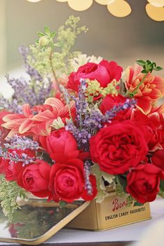 red garden rose centerpiece
