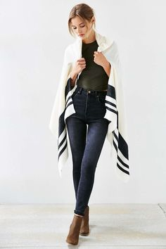 Blanket Stripe Toggle Poncho - Urban Outfitters