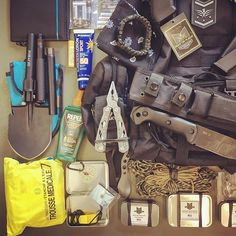 Close up view of my #bugoutbag load out highlighting some tools, outcast survival fishing/sewing/fire kits, @superessestraps wearable survival kit, medical kit, signaling kit with signal  mirror and high pitch emergency whistle.  What type of kits do you have in your BOB? Link in bio for list of contents. ................ #outdoors #useyourshit #adventure #adventurer #adventurers #getoutthere #getoutmore #bugoutbag #onelifeliveit #wildcamping #gear #valhalla #dailycarry #edccommunity…